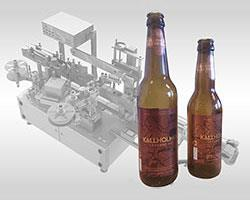 Beer bottle labelling machine